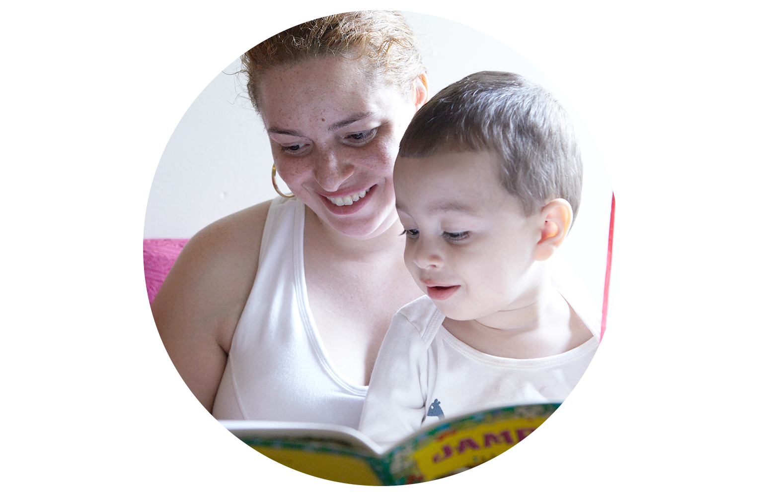 Mother reading to son at a Win shelter